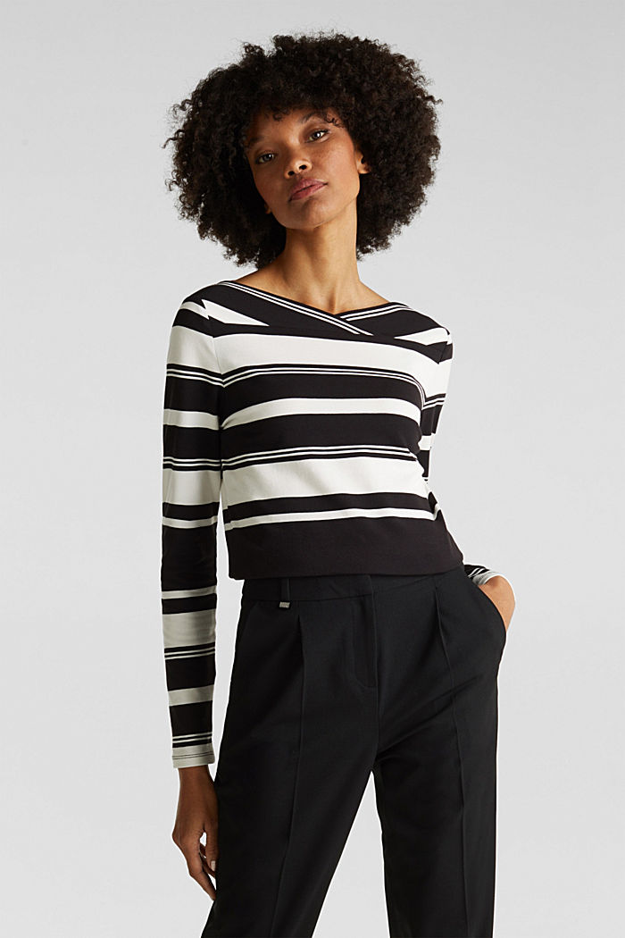 Long sleeve top with a beautiful neckline, BLACK, detail image number 0