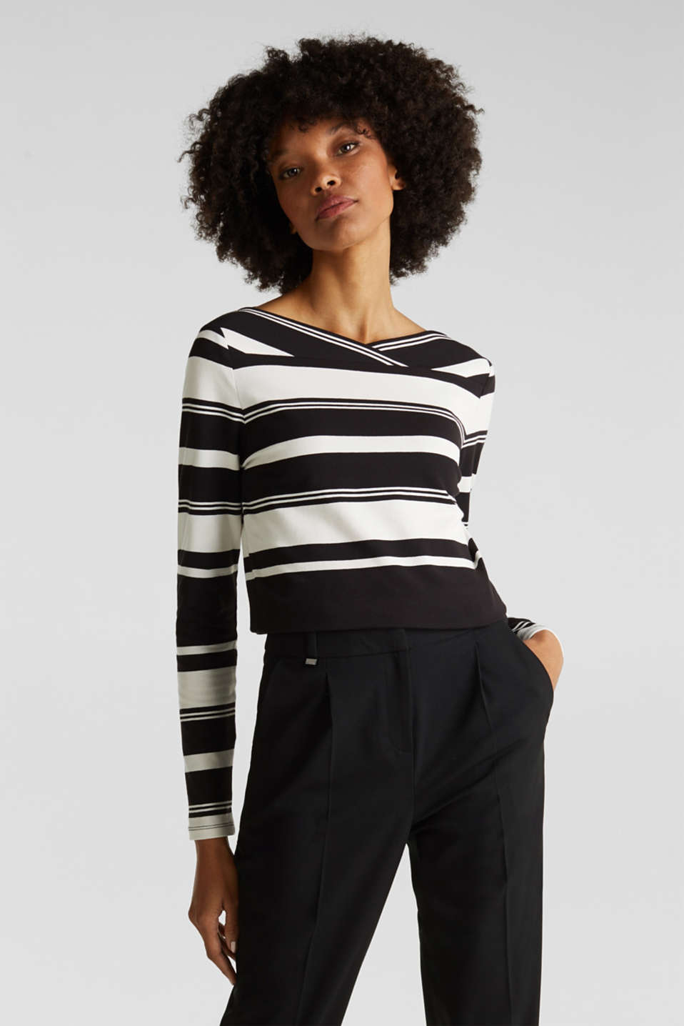 Stretch long sleeve top with a modern neckline, BLACK, detail image number 0