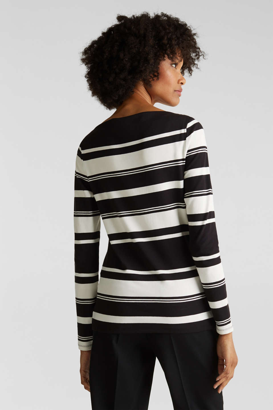 Stretch long sleeve top with a modern neckline, BLACK, detail image number 3