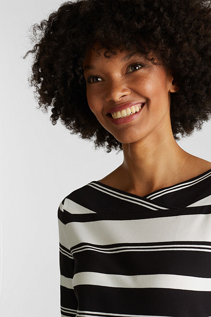 Long sleeve top with a beautiful neckline, BLACK, detail image number 2