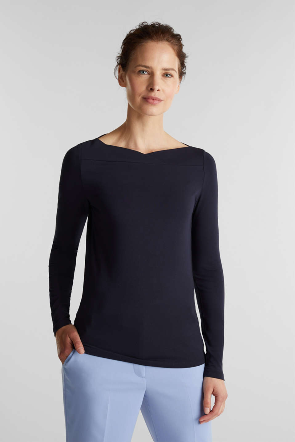 Stretch long sleeve top with a modern neckline, NAVY, detail image number 0