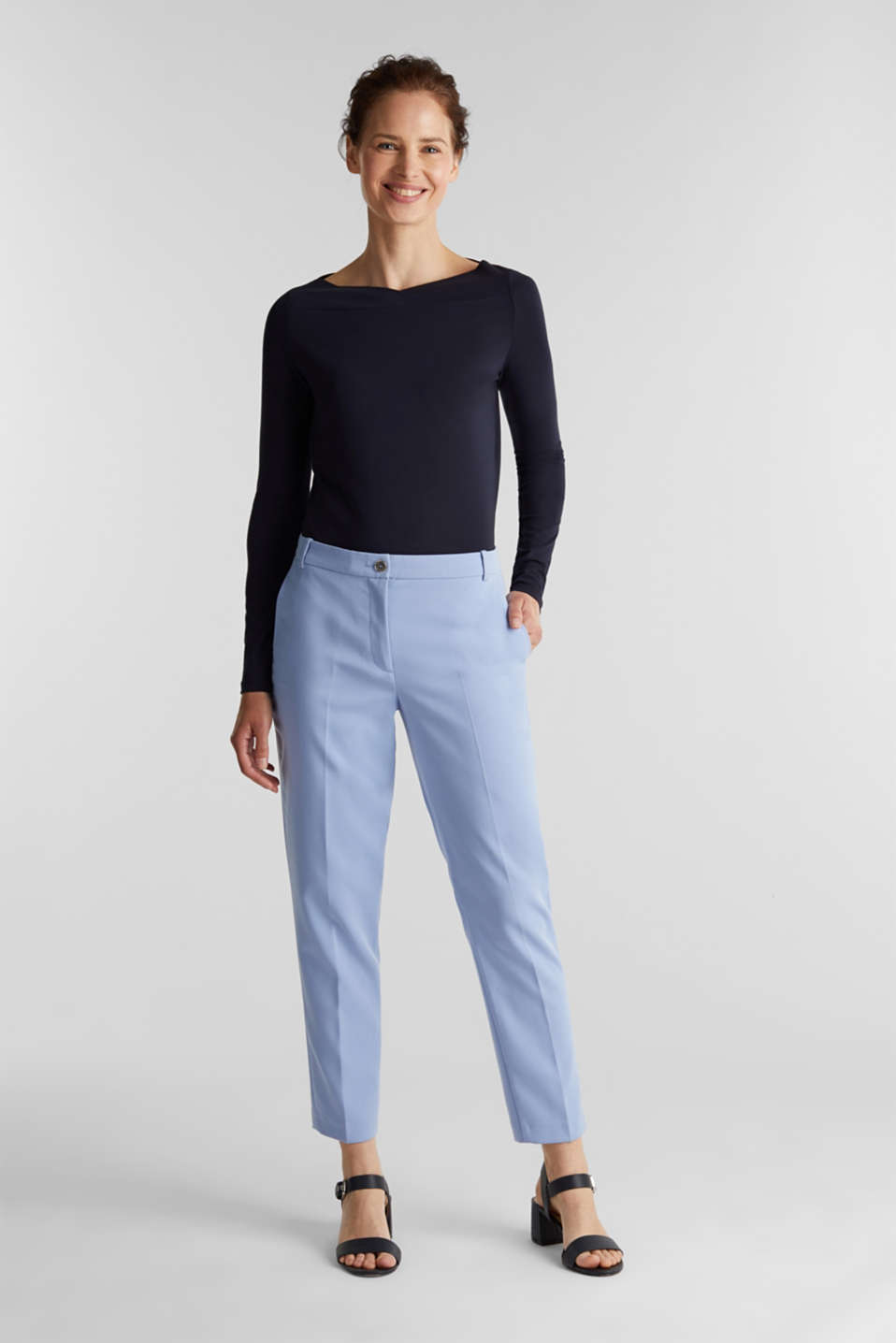 Stretch long sleeve top with a modern neckline, NAVY, detail image number 1
