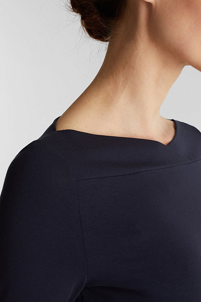 Long sleeve top with a beautiful neckline, NAVY, detail image number 2