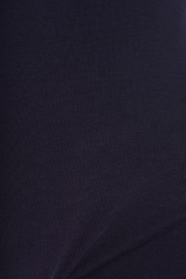 Stretch long sleeve top with a modern neckline, NAVY, detail