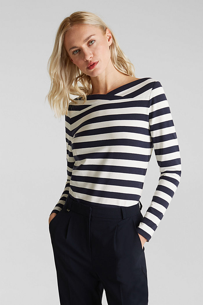 Long sleeve top with a beautiful neckline, NAVY, detail image number 0