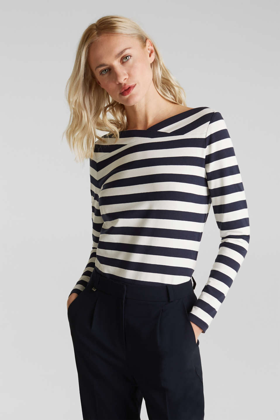 Stretch long sleeve top with a modern neckline, NAVY 2, detail image number 0