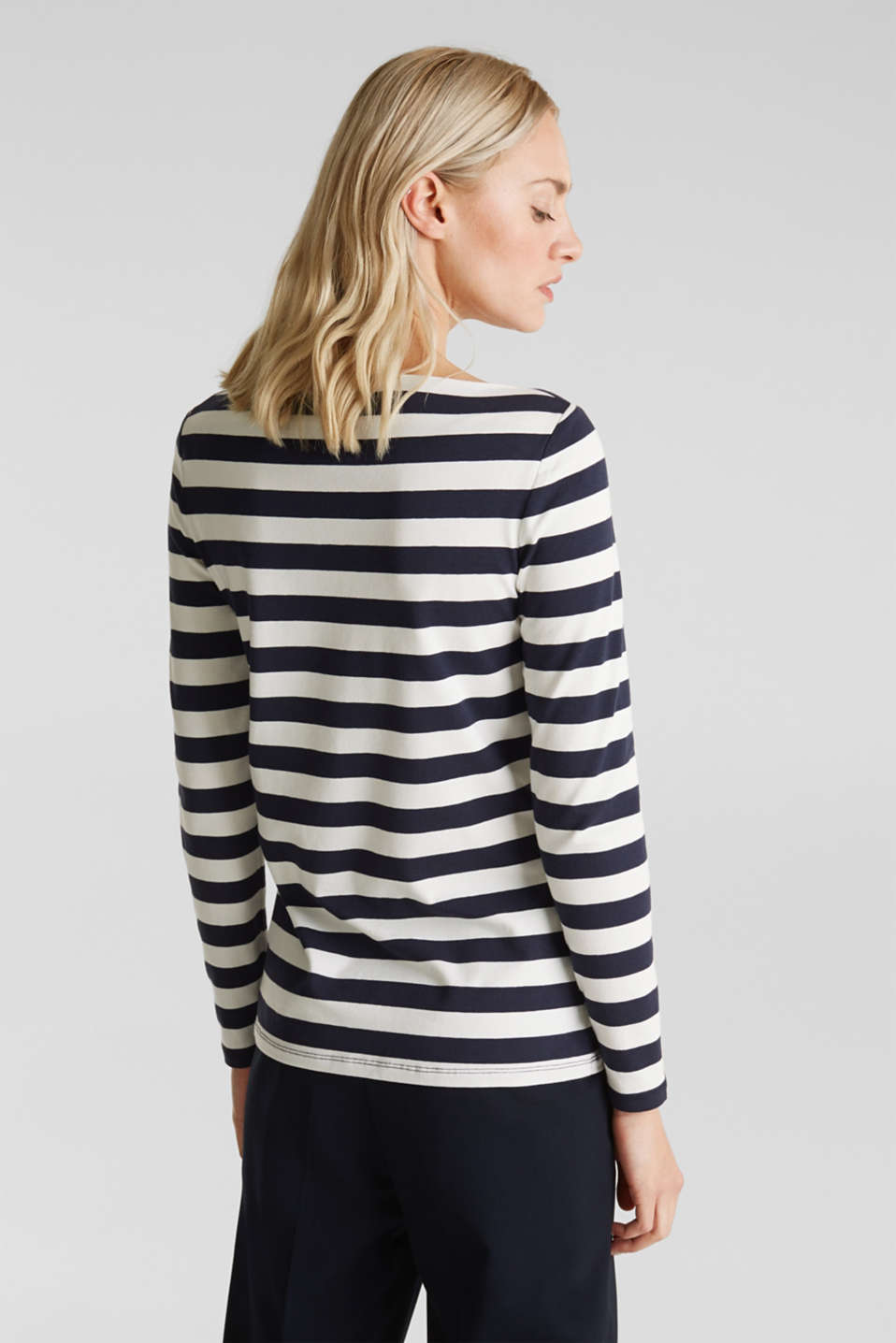 Long sleeve top with a beautiful neckline, NAVY 2, detail image number 3