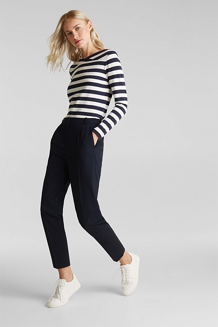 Long sleeve top with a beautiful neckline, NAVY, detail image number 1