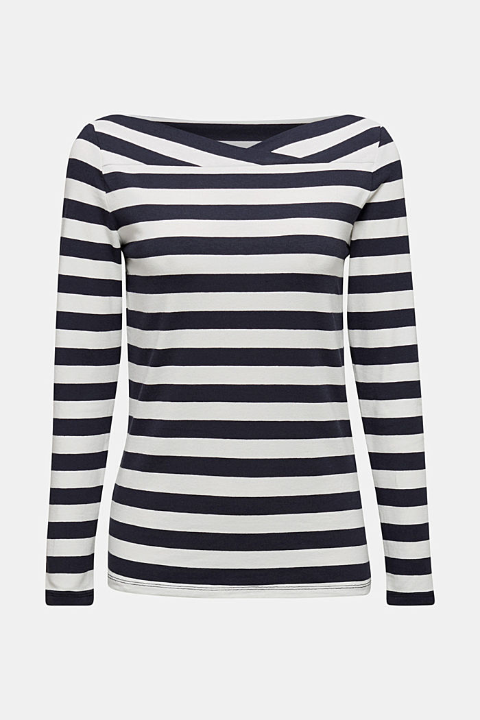 Long sleeve top with a beautiful neckline, NAVY, detail image number 5