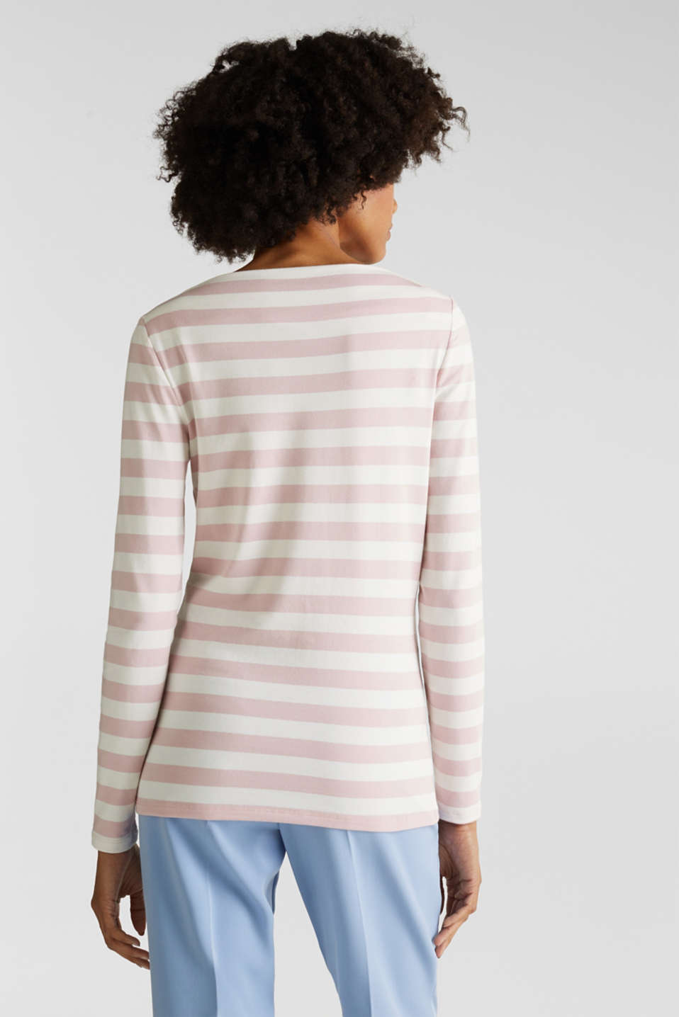 Stretch long sleeve top with a modern neckline, OLD PINK, detail image number 3