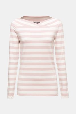 Stretch long sleeve top with a modern neckline, OLD PINK, detail