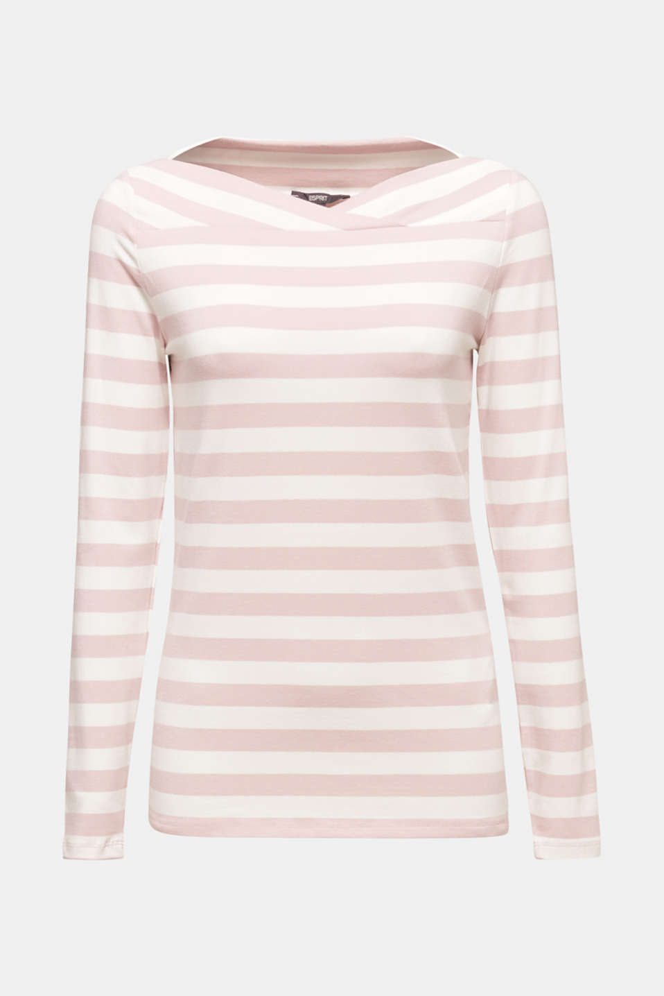 Stretch long sleeve top with a modern neckline, OLD PINK, detail image number 5
