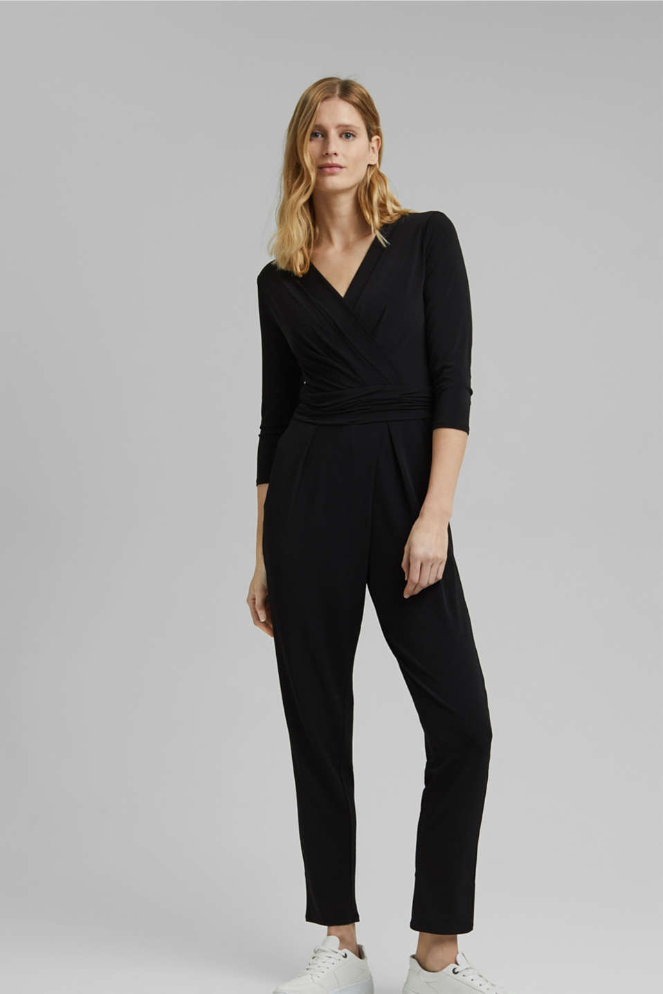 Esprit - Jersey jumpsuit with a wrap-over effect