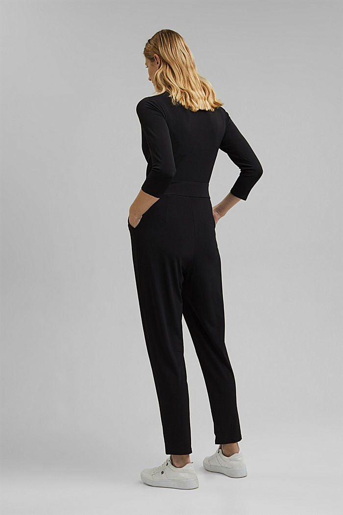 Jersey-Jumpsuit im Wickel-Look, BLACK, detail image number 2