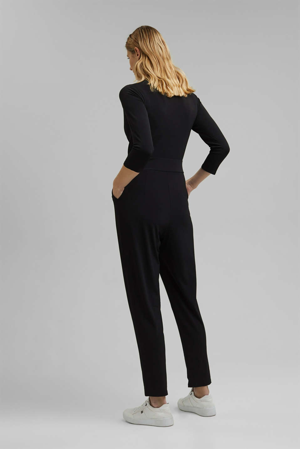 Jersey jumpsuit with a wrap-over effect, BLACK, detail image number 2