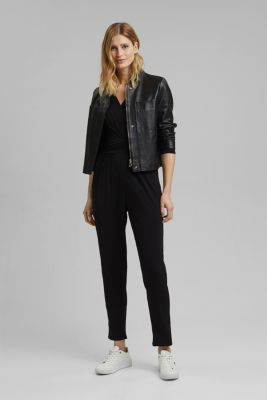 Jersey jumpsuit with a wrap-over effect, BLACK, detail