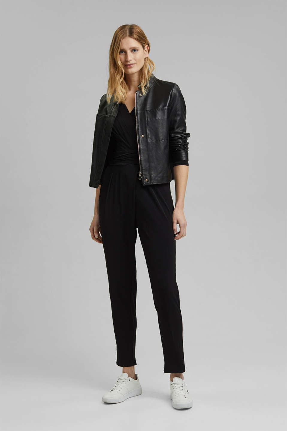 Jersey jumpsuit with a wrap-over effect, BLACK, detail image number 1