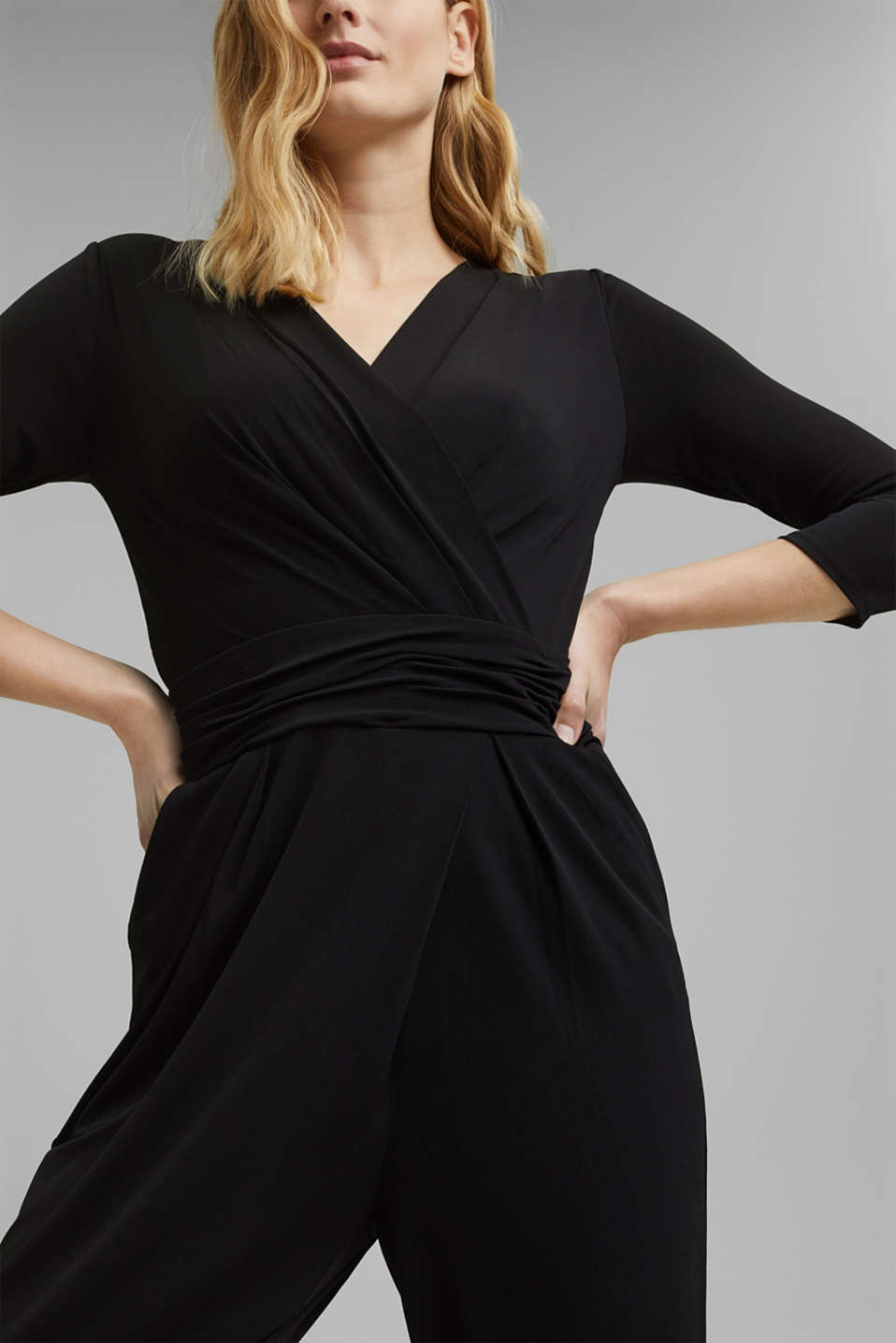 Jersey jumpsuit with a wrap-over effect, BLACK, detail image number 3