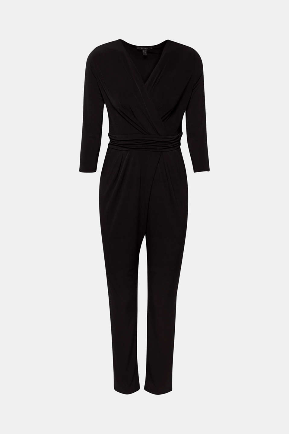 Jersey jumpsuit with a wrap-over effect, BLACK, detail image number 5