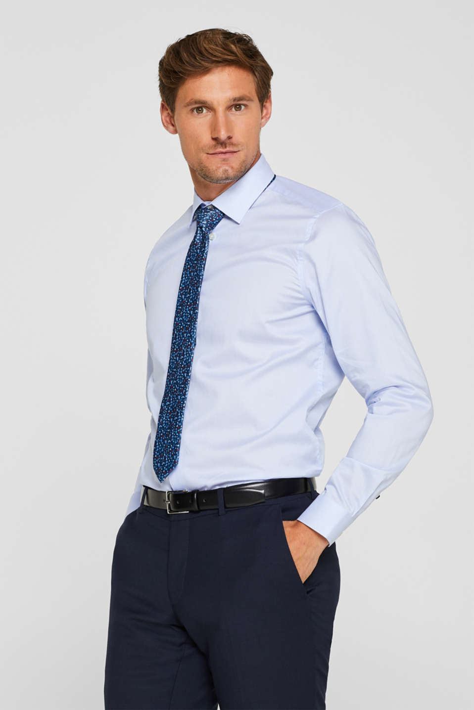Esprit - Shirt with mechanical stretch, 100% cotton