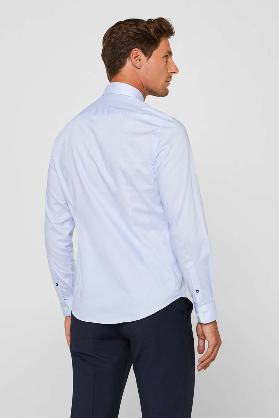 Shirt with mechanical stretch, 100% cotton, LIGHT BLUE, detail image number 3
