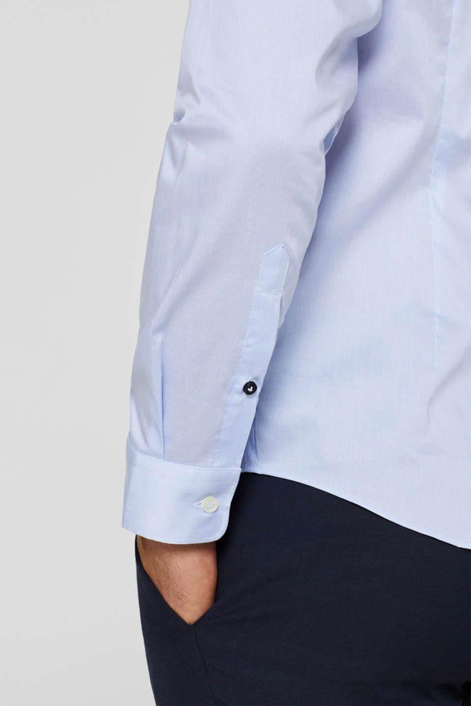Shirt with mechanical stretch, 100% cotton, LIGHT BLUE, detail image number 2