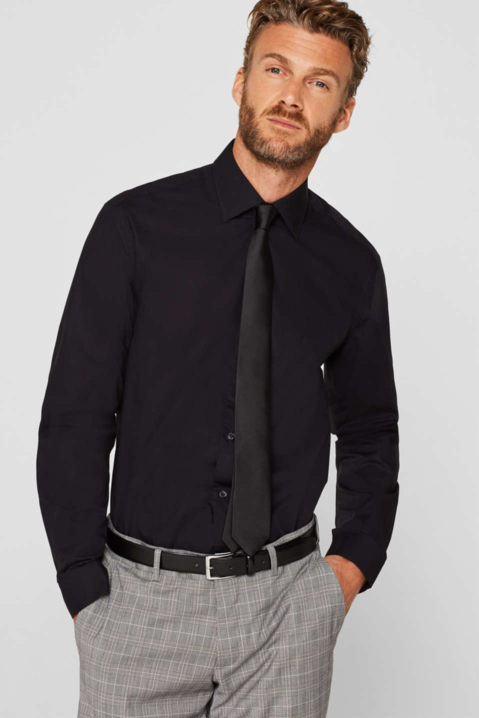 Shirts woven Regular fit, BLACK, detail image number 0