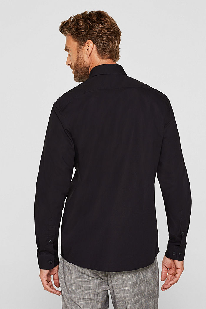 Shirt with mechanical stretch, 100% cotton, BLACK, detail image number 2