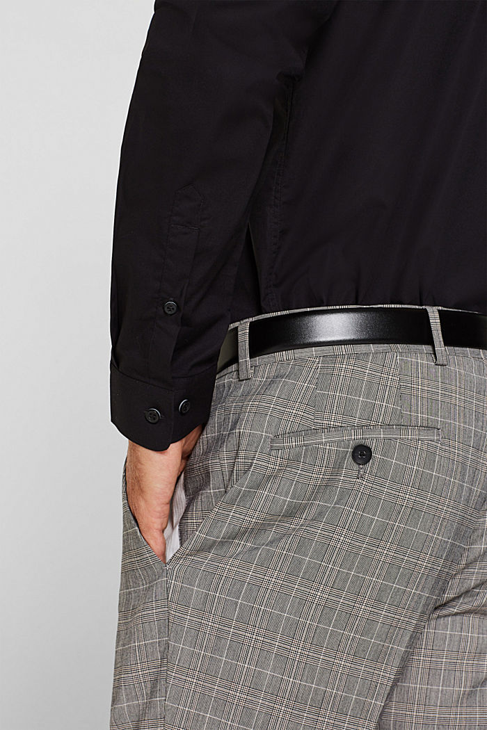 Shirt with mechanical stretch, 100% cotton, BLACK, detail image number 4