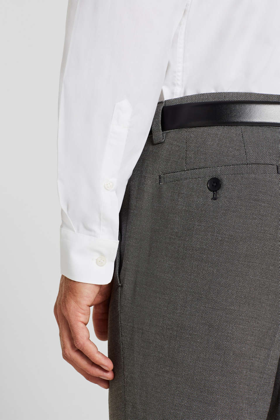 Shirt with mechanical stretch, 100% cotton, WHITE, detail image number 2
