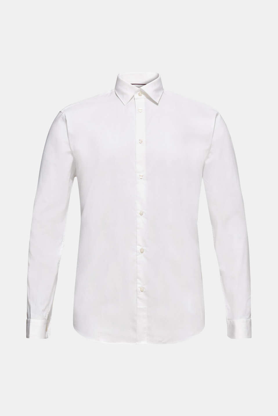 Shirt with mechanical stretch, 100% cotton, WHITE, detail image number 6