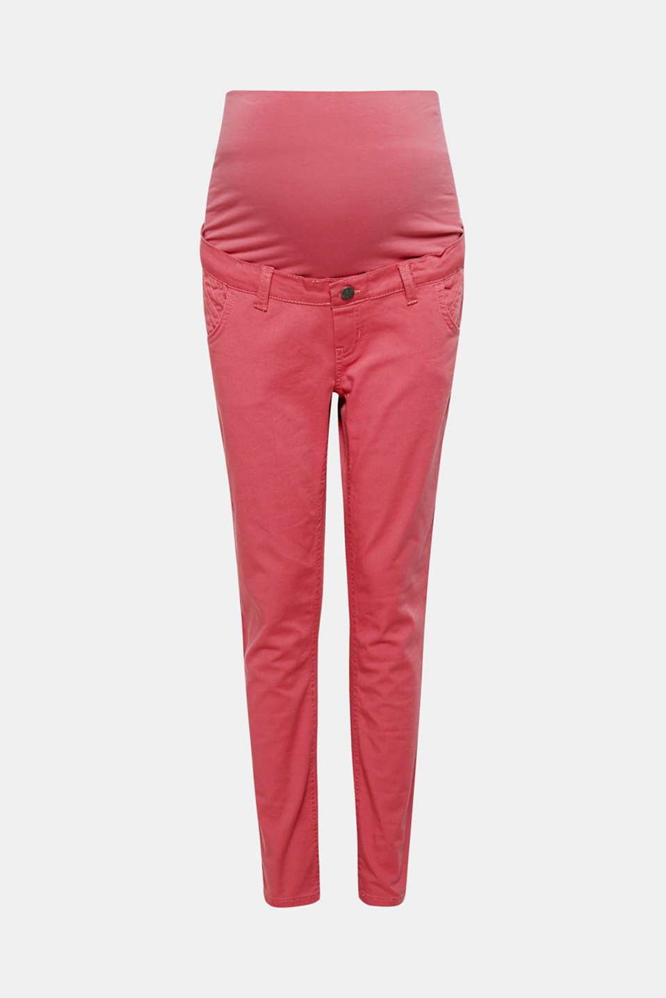 Get ready for spring with these coloured, stretchy jeans with tonal decorative stitching and an over-bump waistband!