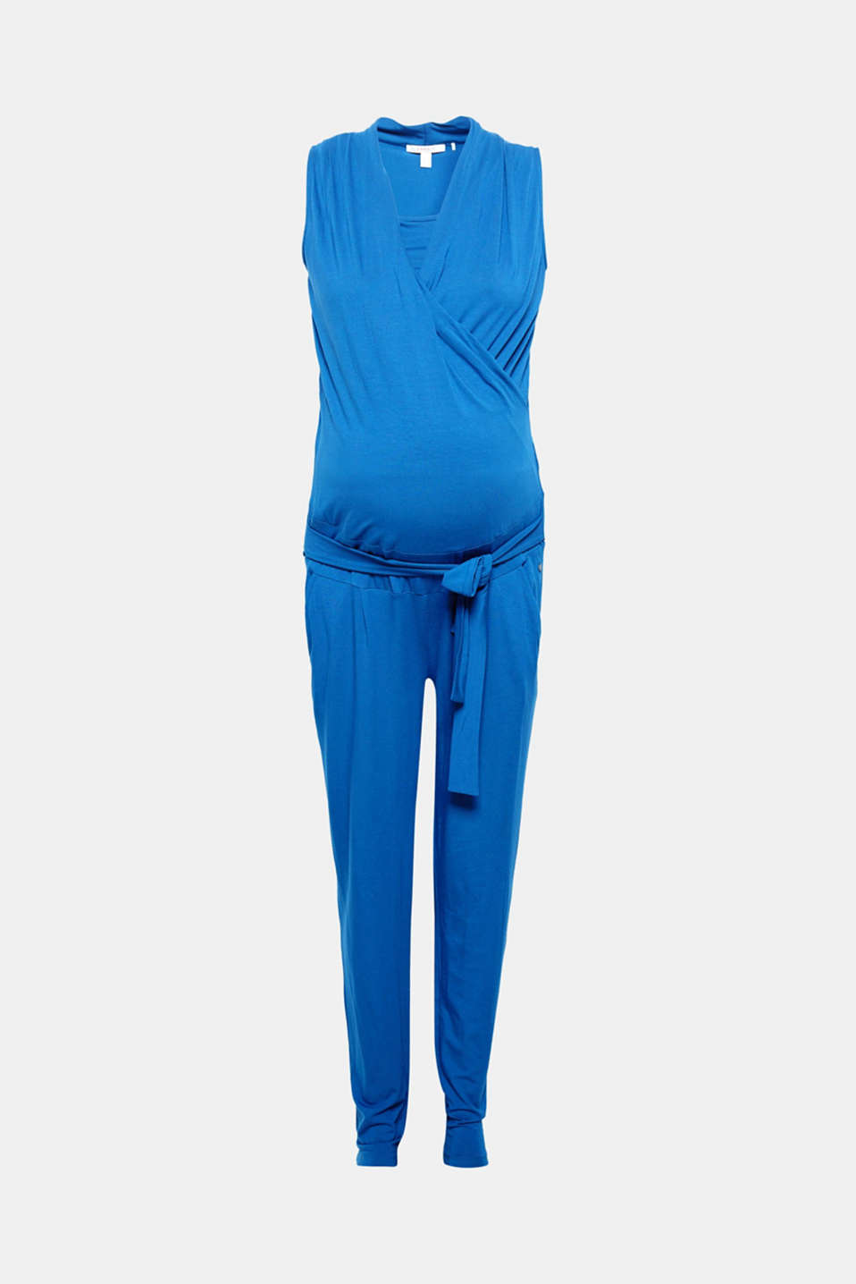Too stylish to just wear while nursing: comfortable jumpsuit with a wrap-over effect and tie-around belt!