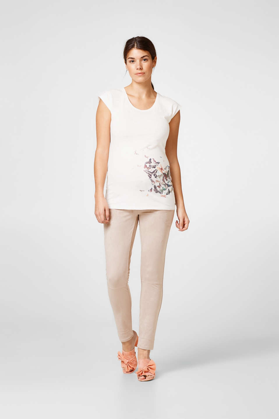 Esprit - Leather look treggings under-bump waist