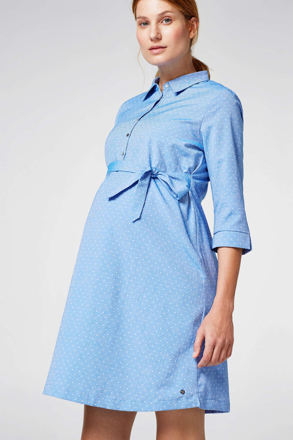 Esprit - Chambray dress with a polka dot pattern