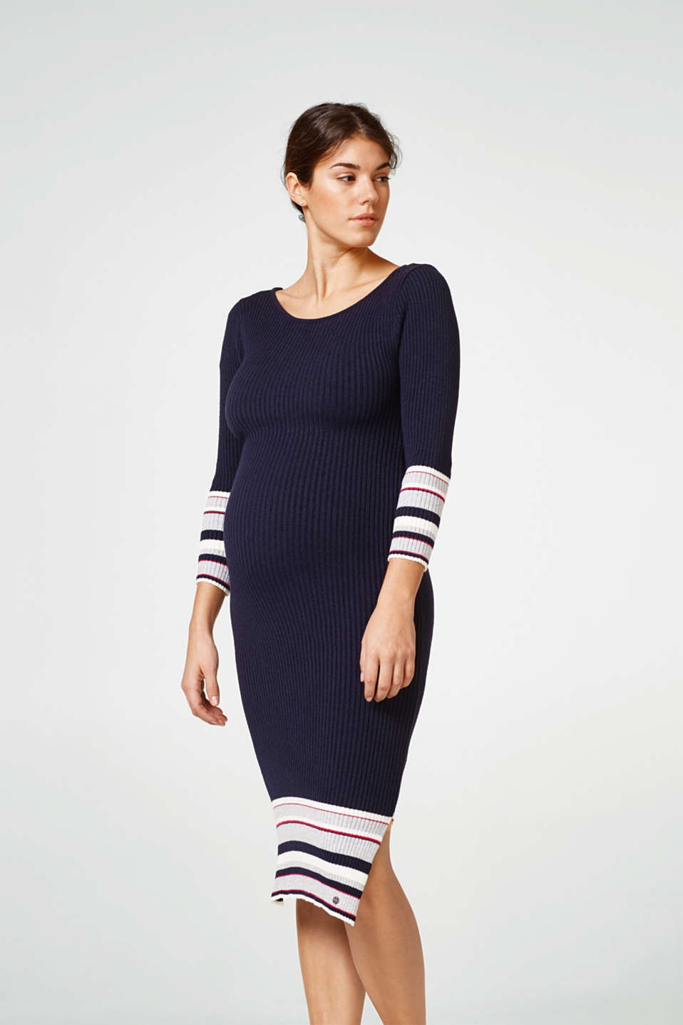 Esprit - Rib knit dress with stripes