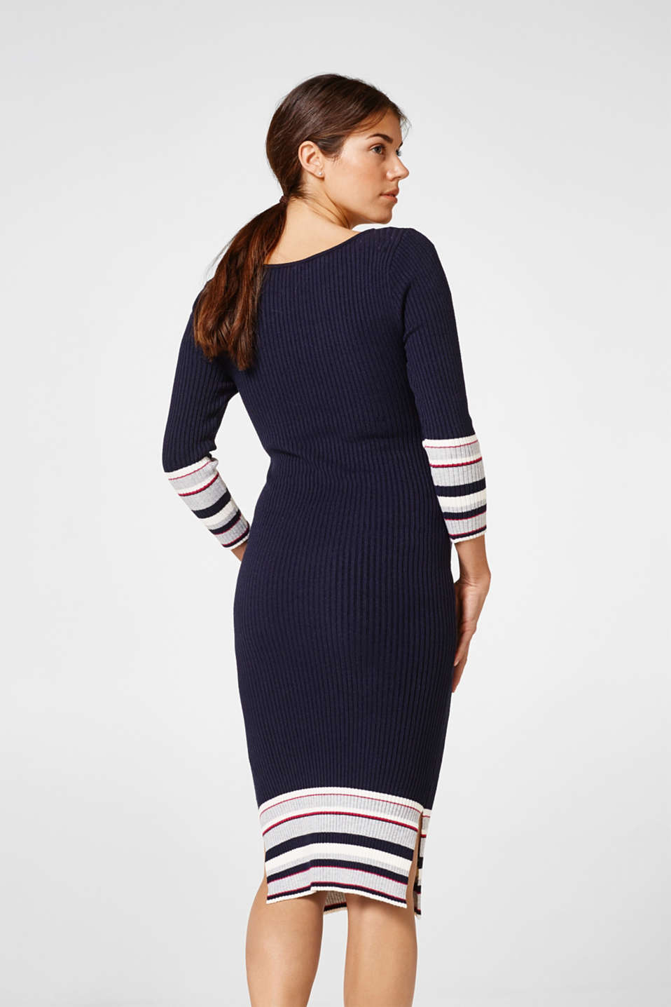Rib knit dress with stripes