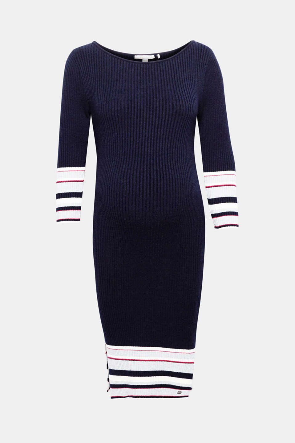 This rib knit dress with added stretch for comfort can be worn both during and after your pregnancy!