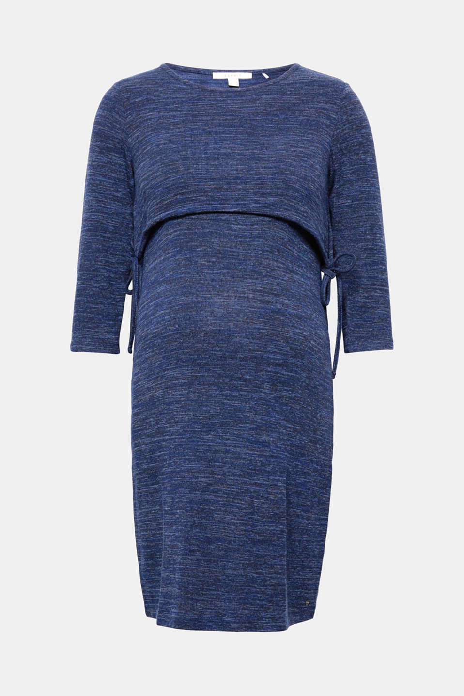 The layered top portion with drawstrings gives this stretch jersey dress a brand new look!