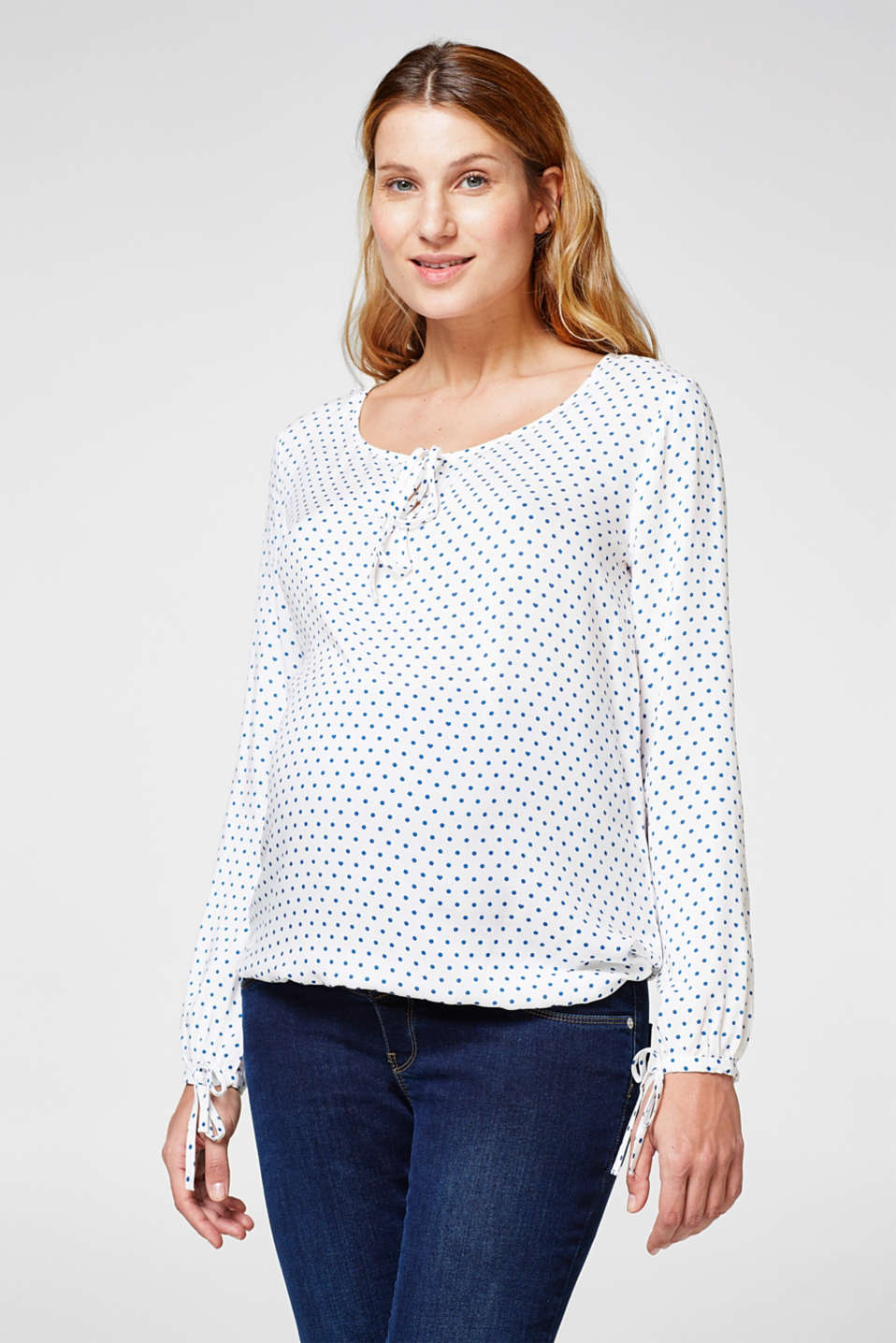 Esprit - Floaty blouse with a polka dot print