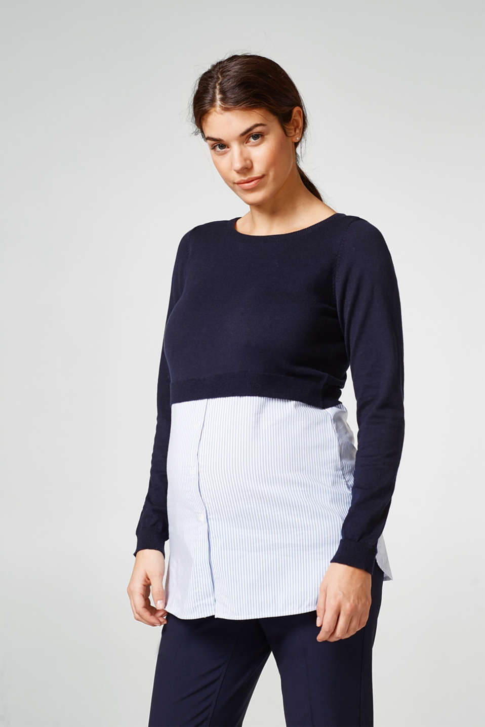 Esprit - Material mix top, 100% cotton