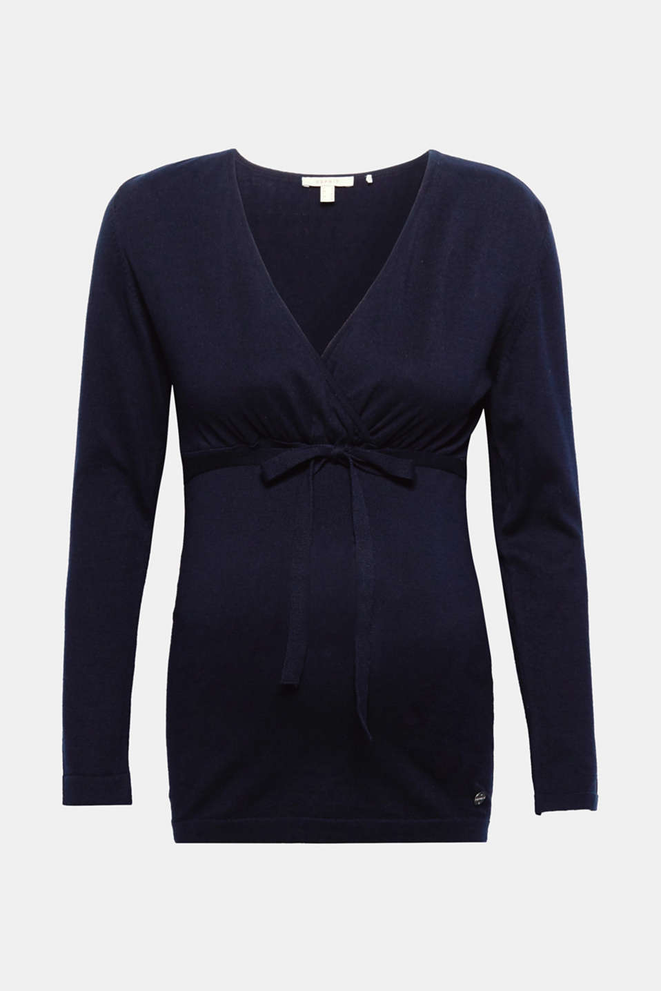 This lightweight jumper with a wrap-over effect and tie-around belt complements denim or nautical looks!