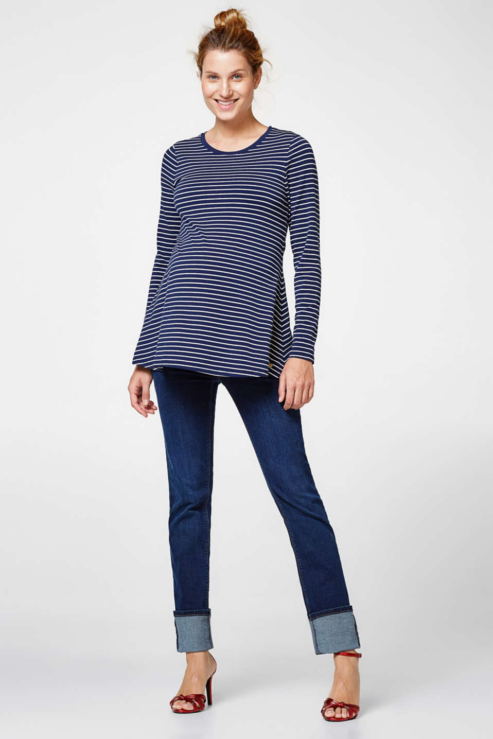 Trendy A-line, stretch long sleeve top