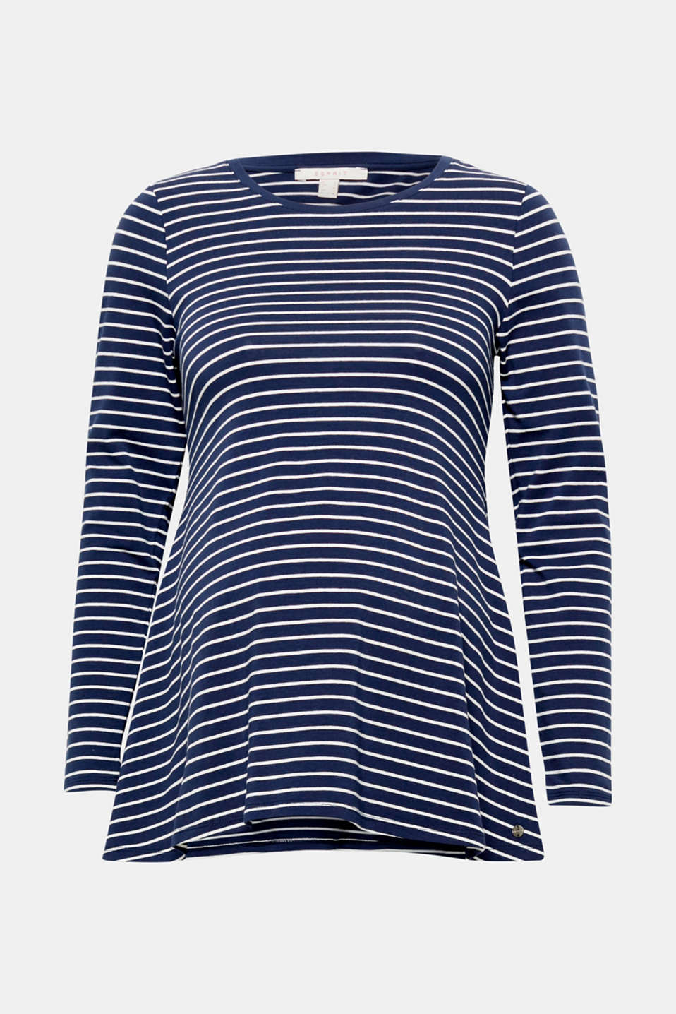 Upbeat fashion fave: the nautical stripes and flared silhouette make this long sleeve tee mega trendy!