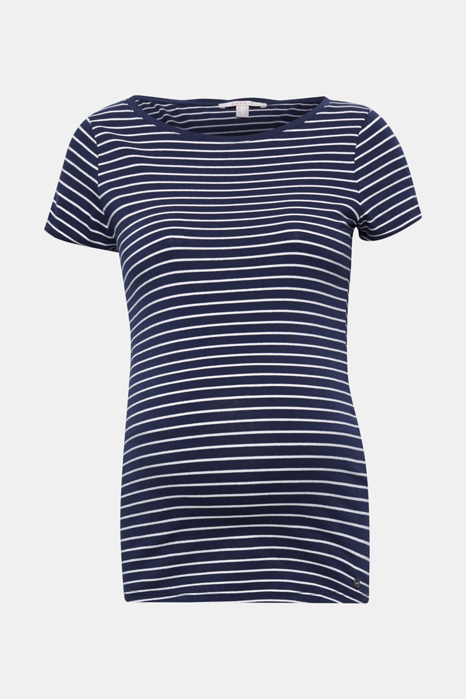 Looks fab both during and after pregnancy: this soft T-shirt with an all-over, nautical stripe pattern!