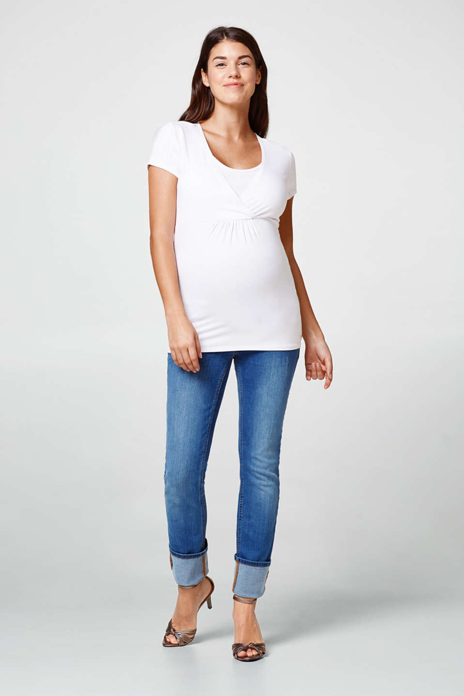 Stretch jeans with over-bump waistband