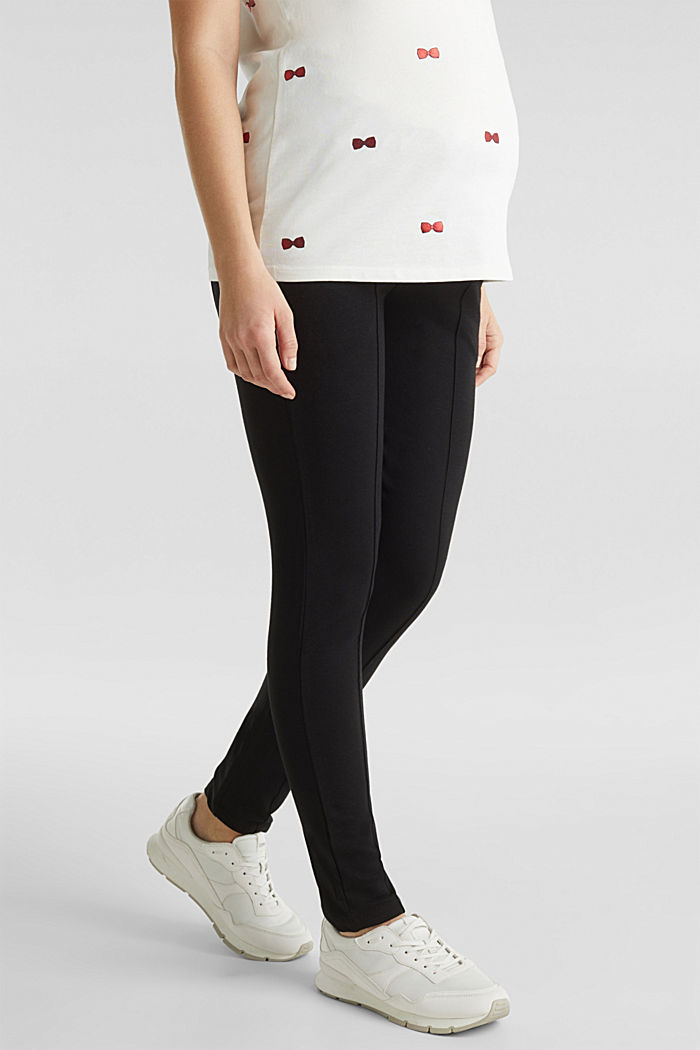 Jersey trousers with an under-bump waistband, BLACK, detail image number 6