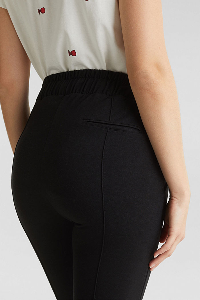 Jersey trousers with an under-bump waistband, BLACK, detail image number 5