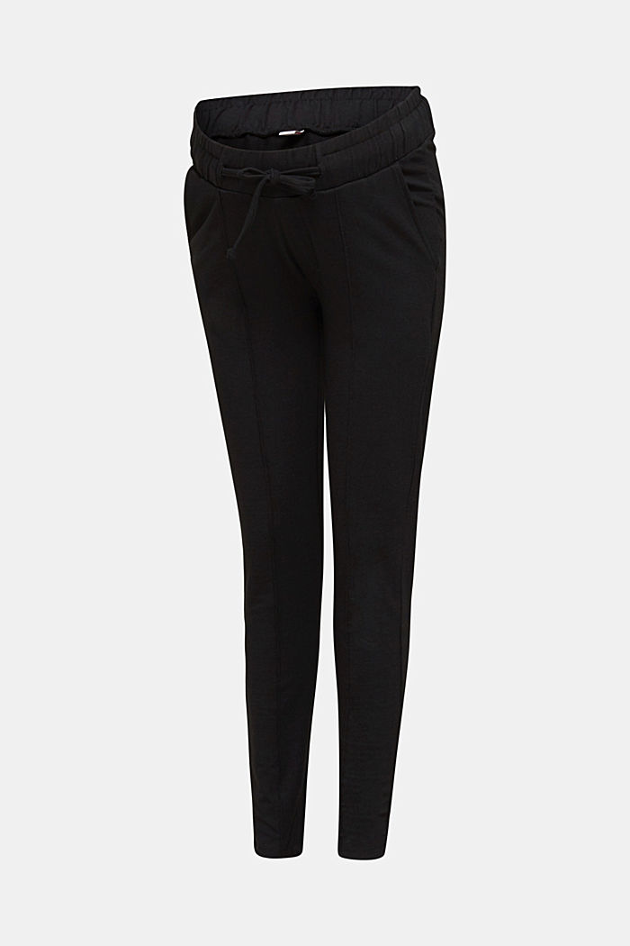 Jersey trousers with an under-bump waistband