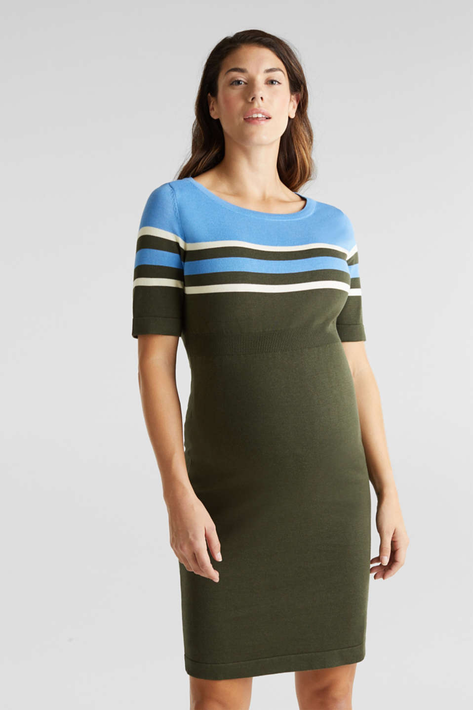 Fine knit dress with block stripes, LCKHAKI GREEN, detail image number 0